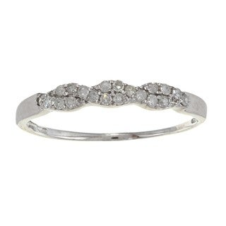 10k White Gold 1/5ct TDW Twist Diamond Band (G-H, I1-I2)