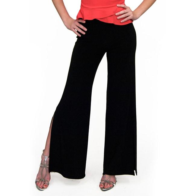 Shining Star Women's Black Knit Bootcut Pants