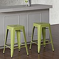 Tabouret 24-inch Limeade Metal Counter Stools (Set of 2)