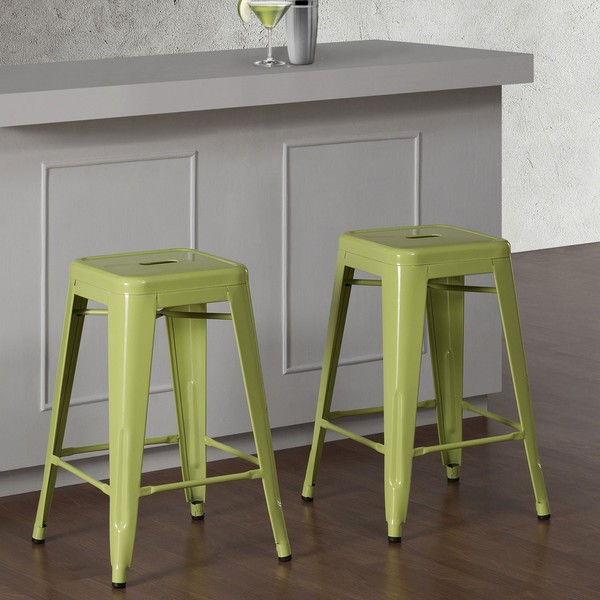 Tabouret 24 Inch Limeade Metal Counter Stools Set Of 2