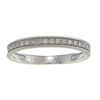 10k White Gold 1/6ct TDW Diamond Engraved Band (G-H, I1-I2)