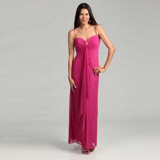 Onyx Nite Woman's Fuchsia Rosette Spaghetti String Gown