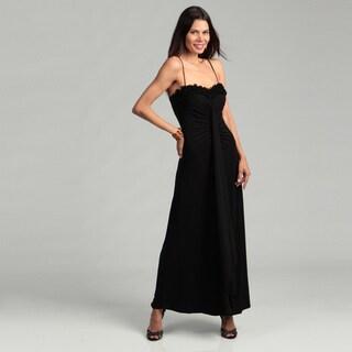Onyx Nite Woman's Rosette Spaghetti Strap Gown
