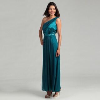 Onyx Nite Woman's Single-shoulder Detail Gown