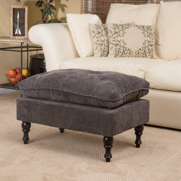Christopher Knight Home Jeremy Grey Tufted Fabric Ottoman