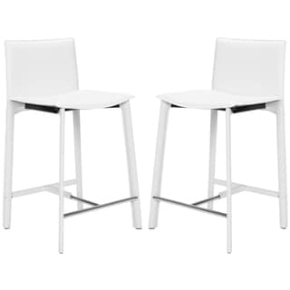 Safavieh Madison Ave 24-inch White Leather Counter Stools (Set of 2)