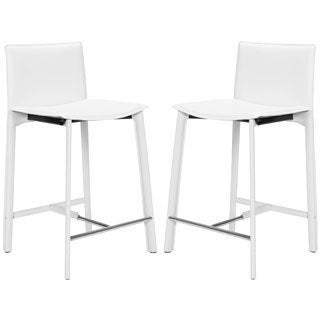 Safavieh Madison Ave White Leather 24.6-inch Counter Stools (Set of 2)