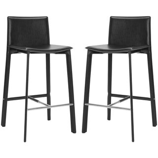 Safavieh Madison Ave 30-inch Black Leather Bar Stool (Set of 2)
