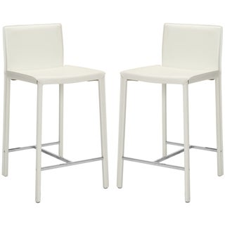 Safavieh Park Ave 25-inch White Leather Counter Stools (Set of 2)