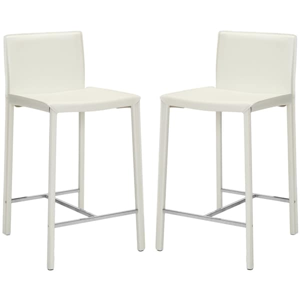 Safavieh Park Ave White Leather 26-inch Counter Stools (Set of 2)