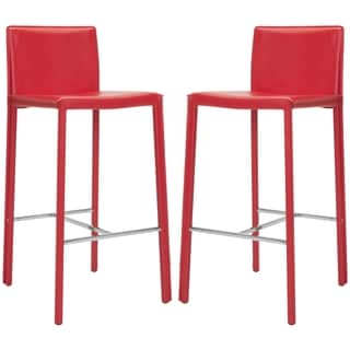 Safavieh Park Ave Red Leather 30-inch Bar Stools (Set of 2)