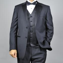 Giorgio Fiorelli Black Classic Fully Lined Two-buttoned Vested Tuxedo