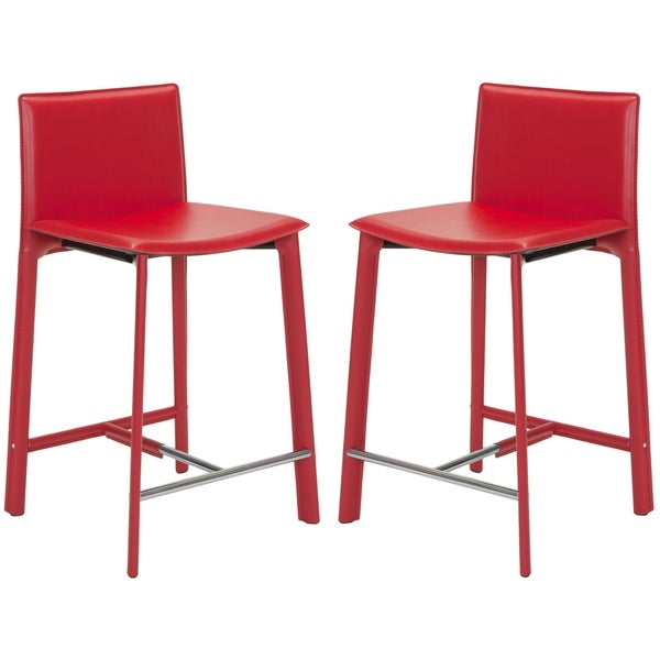 Safavieh Madison Ave 25.5-inch Red Leather Counter Stool (Set of 2)