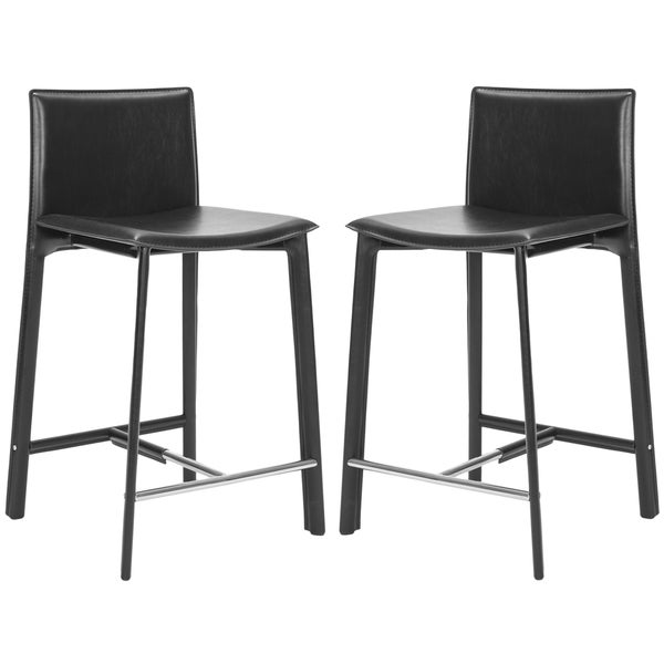Safavieh Madison Ave Black Leather 24-inch Counter Stool (Set of 2)