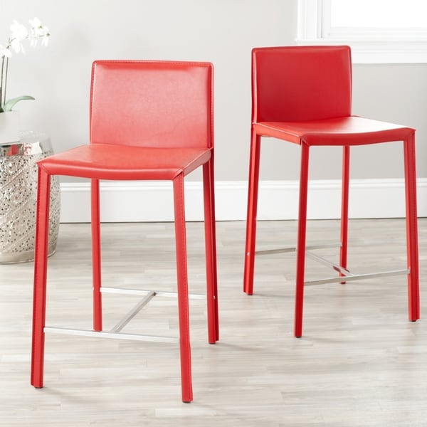 Safavieh Park Ave Red Leather 26-inch Counter Stool (Set of 2)