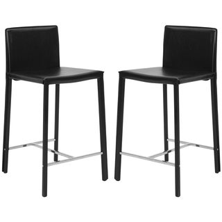 Safavieh Park Ave 24-inch Black Leather Counter Stools (Set of 2)