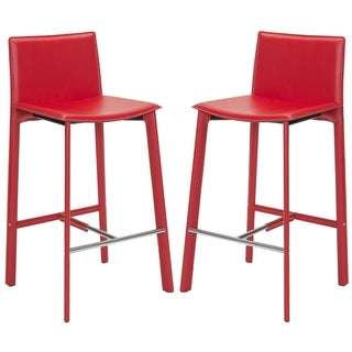 Safavieh Madison Ave 30-inch Red Leather Bar Stool (Set of 2)