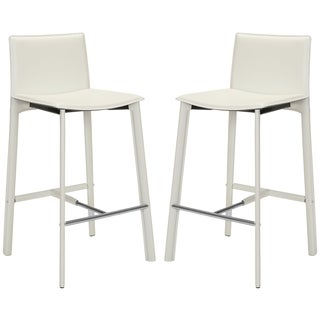 Safavieh 28.5-inch Madison White Leather Bar Stool (Set of 2)