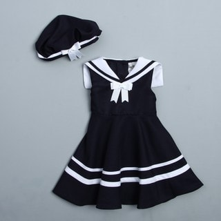 Rare Editions Toddler Girl's Navy Sailor Dress and Hat