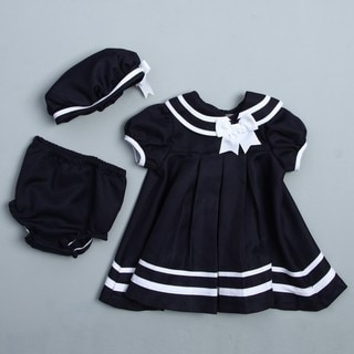 Rare Editions Infant Girl's Nautical Dress Set