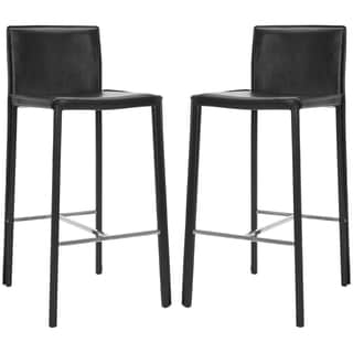 Safavieh Park Ave 30-inch Black Leather Bar Stool (Set of 2)
