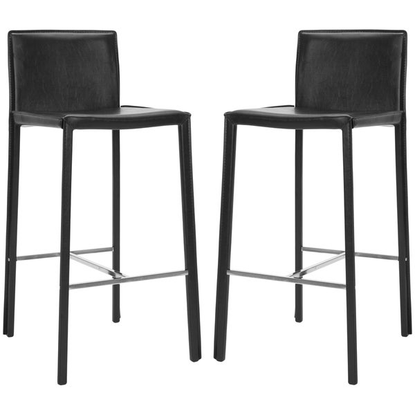Safavieh Park Ave Black Leather 30-inch Bar Stool (Set of 2)