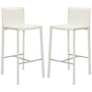 Safavieh 30-inch Park White Leather Bar Stool (Set of 2)
