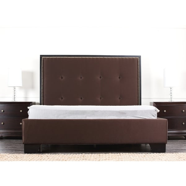ABBYSON LIVING Metropolitan Dark Brown Fabric Queen-size Platform Bed