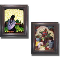 Diego Rivera 'Flower Seller and Flower Vendor' Framed 2-piece Canvas Set