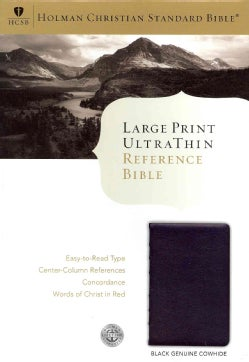 Holy Bible: Holman Christian Standard Bible, Black Genuine Cowhide, Leather, UltraThin Reference Bible (Paperback)