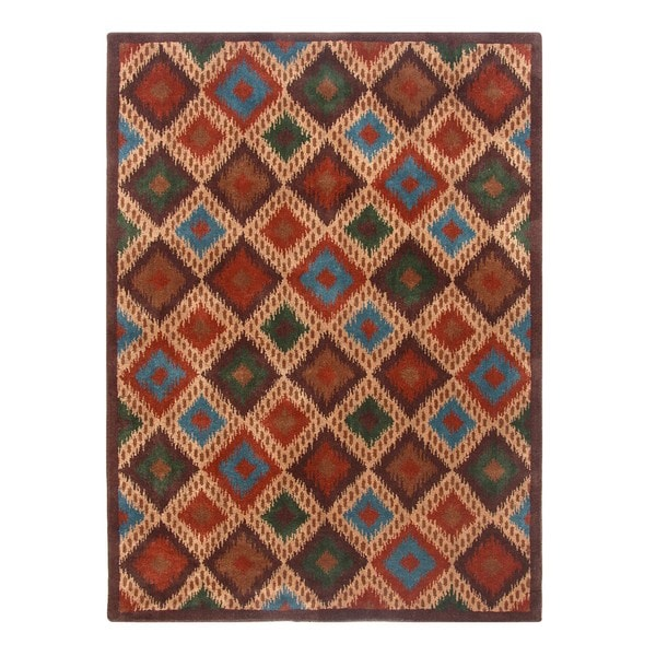Blended Wool Ikat Stone Area Rug (5' x 7')