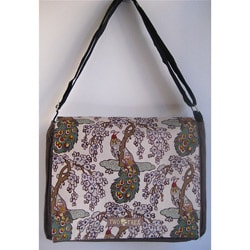 Two Trees Designs Brown 'Peacocks' Medium Messenger Bag