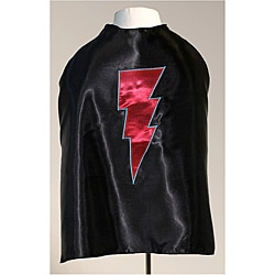 Power Capes Black and Red Lightning Bolt Superhero Cape
