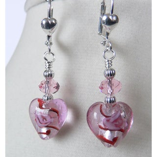 Silvertone 'Daphney' Crystal Heart Earrings