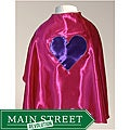 Power Capes Fuchsia with Purple Heart Superhero Cape
