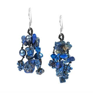 Sterling Silver Lapis and Pearl 'Royal Blue Melody' Earrings (4-5 mm)(Thailand)