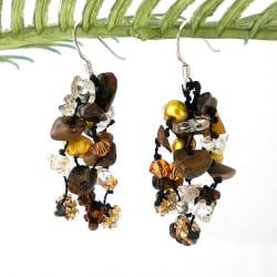 Sterling Silver Tiger's Eye and Pearl 'Sweet Brown Melody' Earrings (4-5 mm)(Thailand)