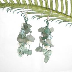 Sterling Silver Aventurine and Pearl 'Green Melody' Earrings