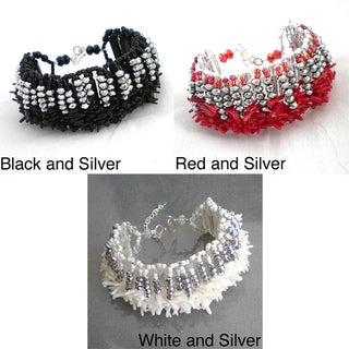 Silvertone Coral or Shell and Crystal Beaded Bracelet (Thailand)