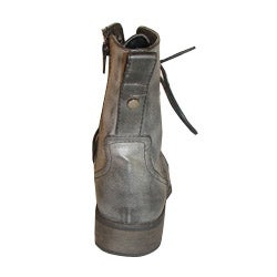 Bucco Boys' Charcoal Man-made Combat Boots - Side-zip with Laces