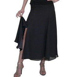 Shining Star Women's Black Georgette Six-gore Skirt