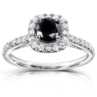 Annello 14k Gold 3/4ct TDW Black and White Diamond Halo Ring (H-I, I1-I2)