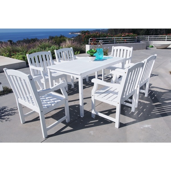 White Bradley 7-Piece Table/ Armchair Outdoor Dining Set