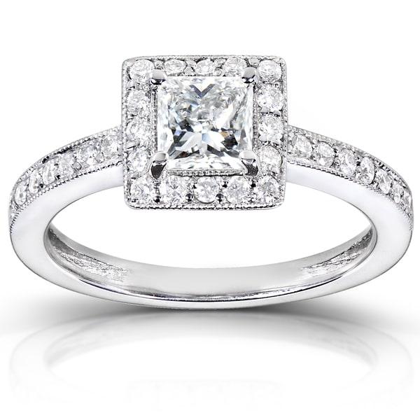 Annello 14k White Gold 3/4ct TDW Diamond Halo Engagement Ring (H-I, I1-I2)