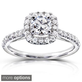 Annello 14k Gold 3/4 ct TDW Diamond Halo Engagement Ring (H-I, I1-I2)