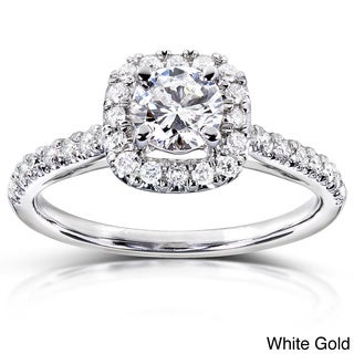 Annello 14k Gold 3/4 ct TDW Diamond Halo Engagement Ring (H-I, I1-I2)