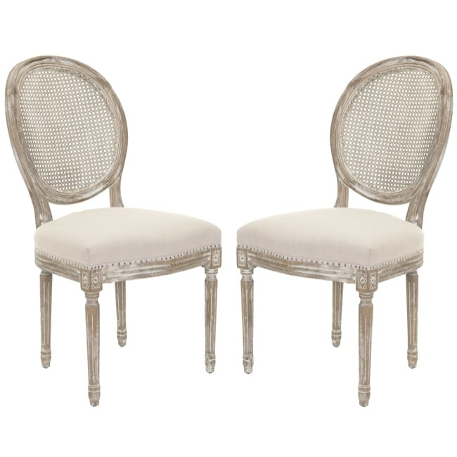 Safavieh Marseille Grey Carved Oak Side Chairs (Set of 2)