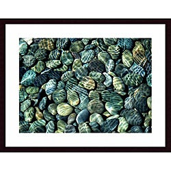 John K. Nakata 'Pebbles Abstract' Medium Framed Print