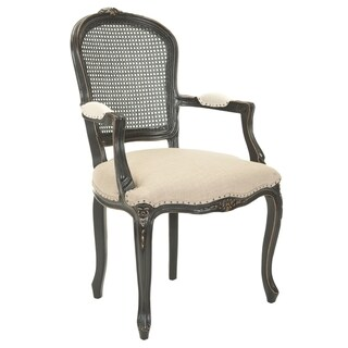 Safavieh Mouries Beige/ Antiqued Black Carved Nailhead Arm Chair