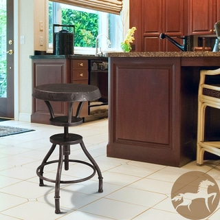 Christopher Knight Home Lucian Rustic Iron Top Adjustable Barstool